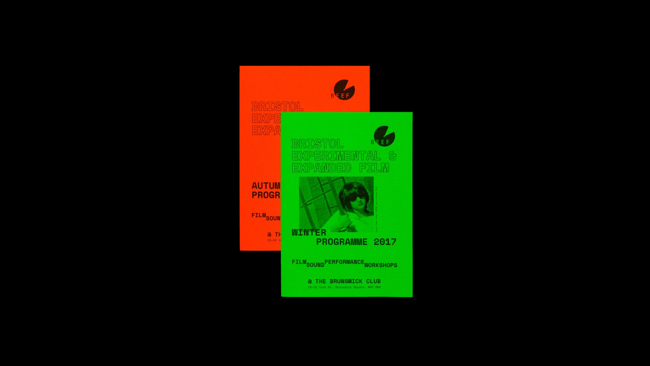 Cover designs for BEEF (Bristol Experimental & Expanded Film) programmes, designed by City Edition Studio