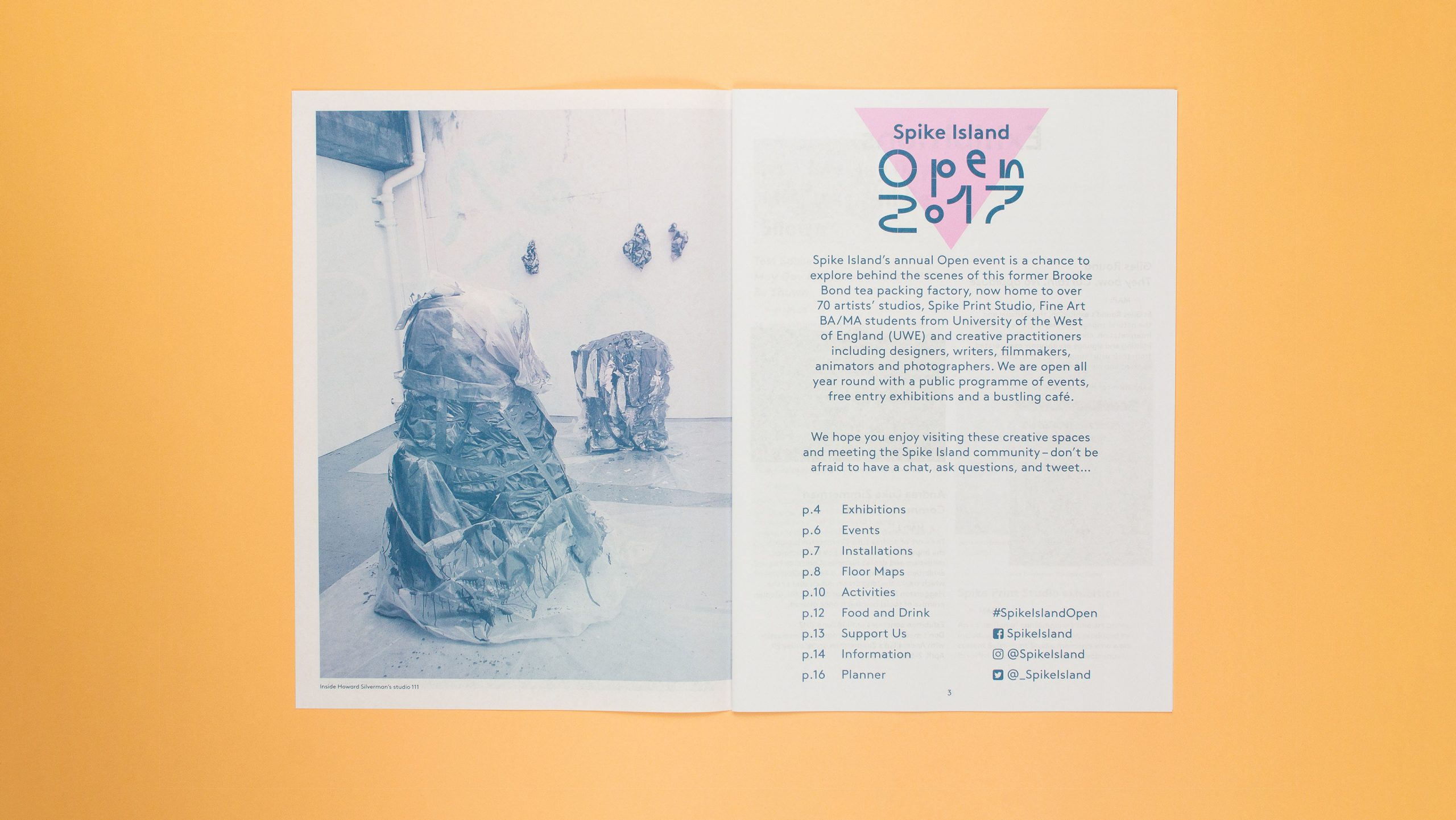 Inside spread of Spike Islands Open Guide, designed by City Edition Studio