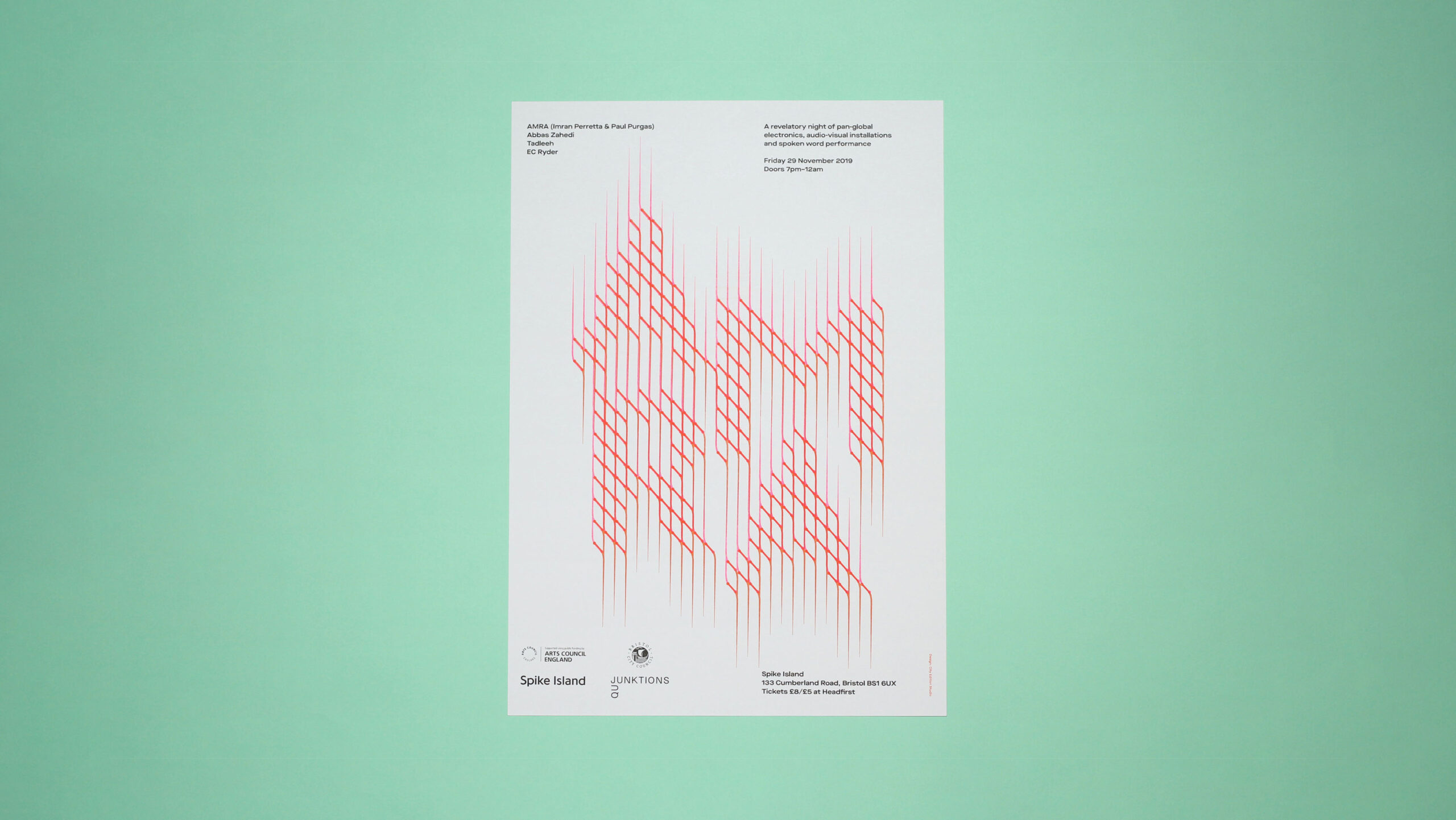 A typographic poster for AMRA's live event at Spike Island, designed by City Edition Studio