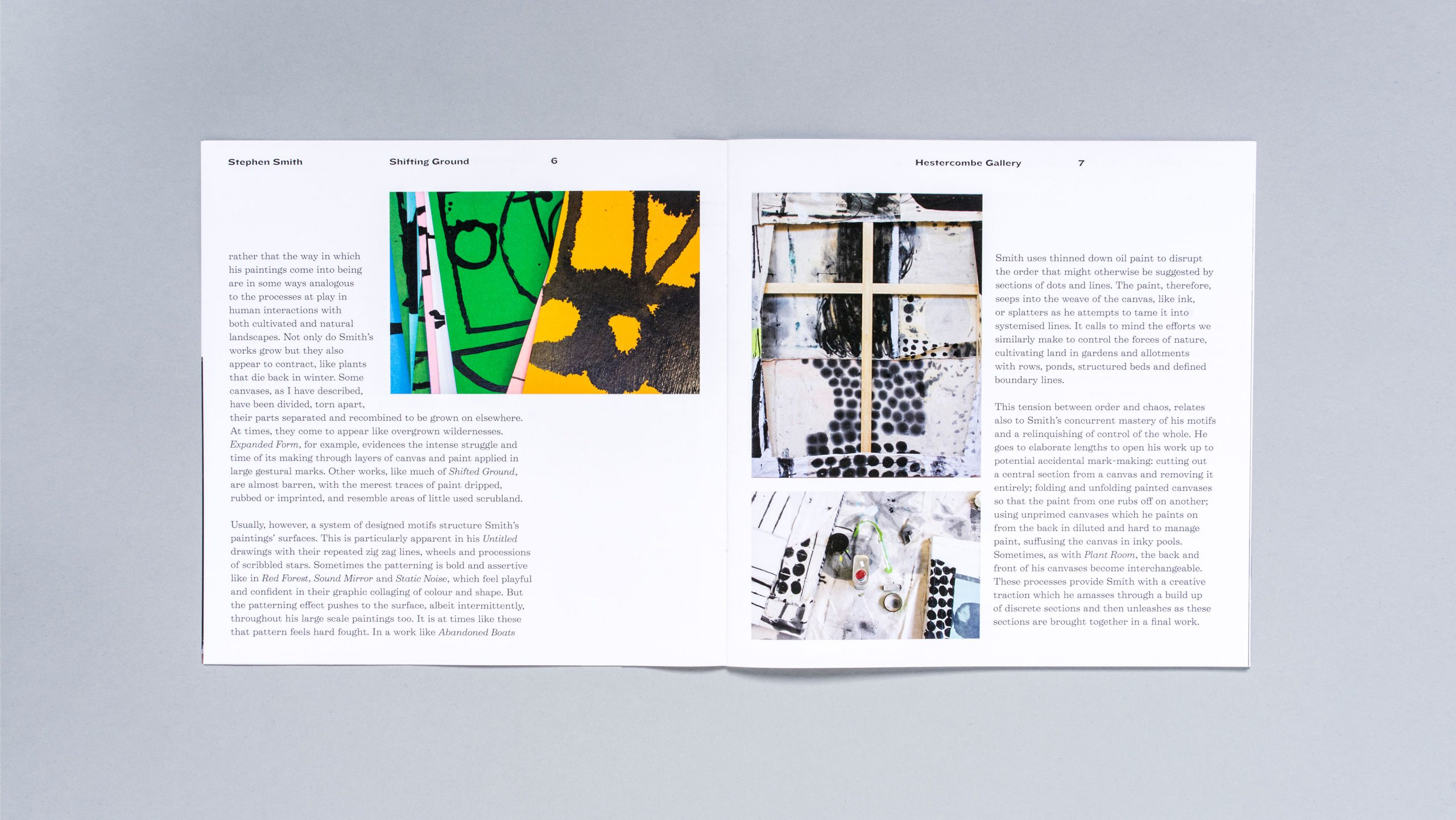 Inside spread of the exhibition catalogue for Shifting Ground, a show of work by painter Stephen Smith at Hestercombe Gallery, designed by City Edition Studio