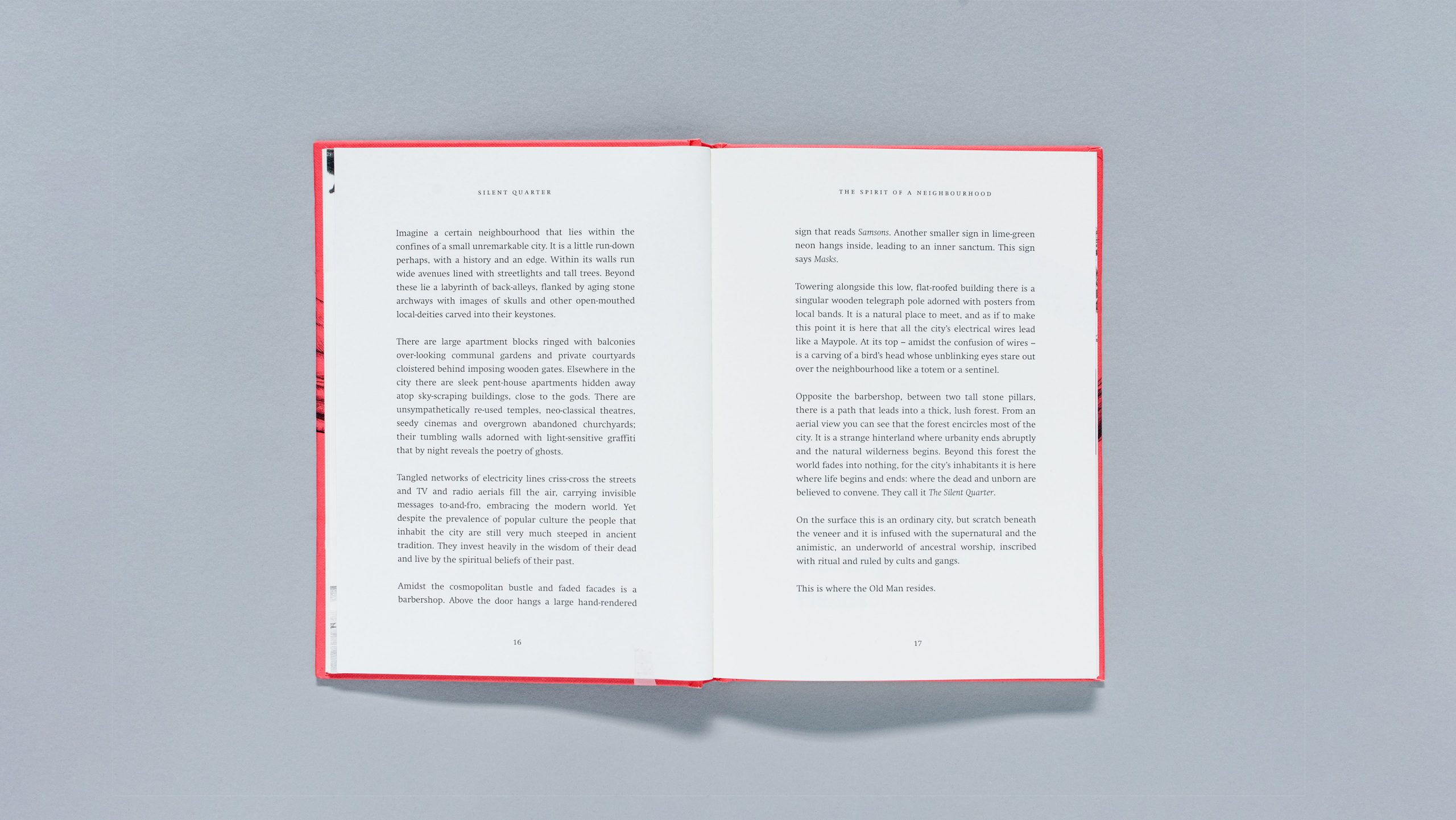 Inside spread of Silent Quarter, a book by Tim Lane, designed by City Edition Studio