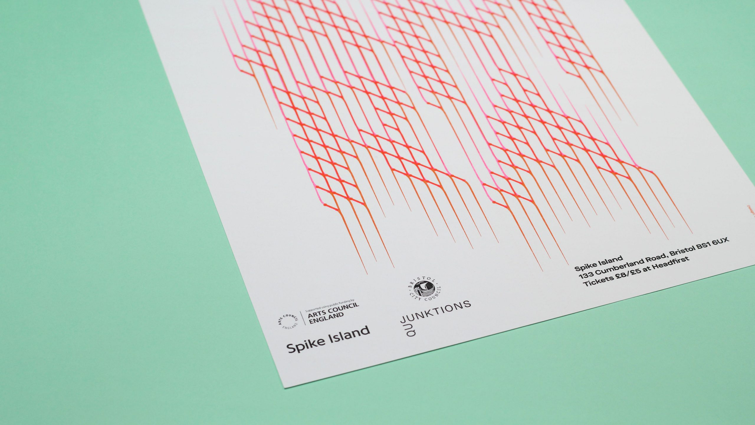 Close up of 3 colour risograph printed typographic poster for AMRA's live event at Spike Island, designed by City Edition Studio