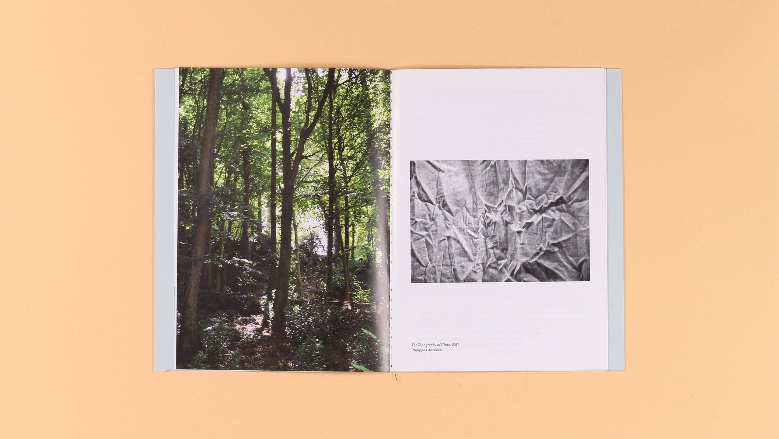 Inside spread of Being Here and Being There, a publication by Philippa Lawrence, designed by City Edition Studio