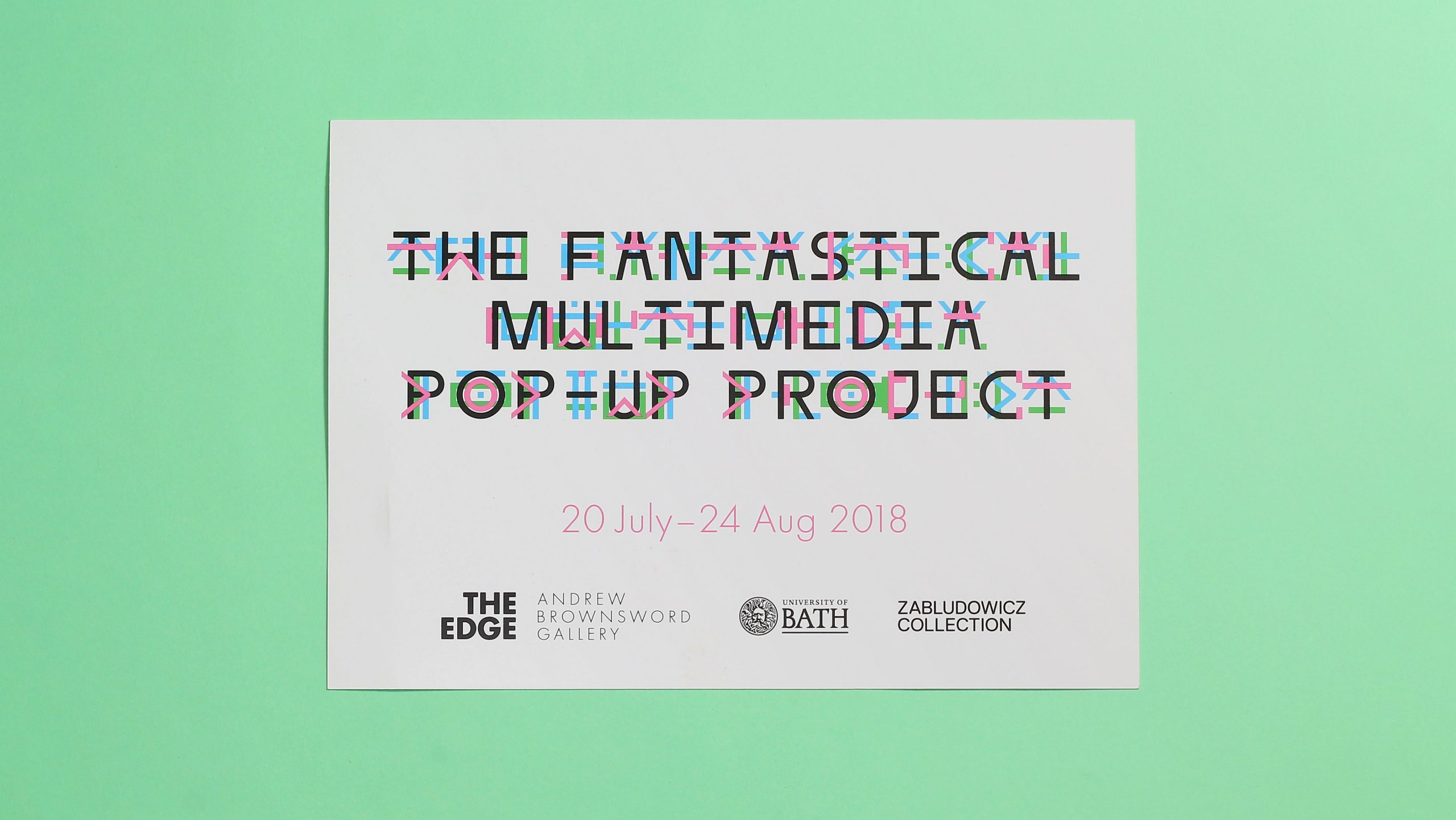A flyer showing the identity for The Fantastical Multi Media Pop Up Project, an exhibition at the Edge in Bath. Designed by City Edition Studio